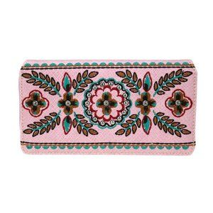Floral Embroidered Secretary Wallet - Pink